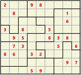 Jigsaw L(2,4) D(26,12,1,1,1,0) V Difficult As regular 9 by 9 but the normal 3X3 boxes are irregular shapes