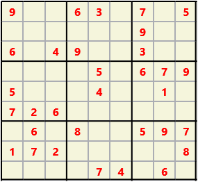 Sudoku 9X9 L(1,1) D(32,4,0,0,0,0) Easy This is the standard geometry that is usually seen. Characters must not repeat in rows or columns or in any of the 3 by 3 boxes that are outlined.