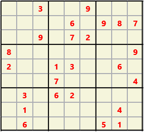 Sudoku 9X9 L(1,2) D(25,15,1,0,0,0) Gentle This is the standard geometry that is usually seen. Characters must not repeat in rows or columns or in any of the 3 by 3 boxes that are outlined.