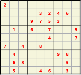 Sudoku 9X9 L(1,2) D(28,10,1,0,0,0) Gentle This is the standard geometry that is usually seen. Characters must not repeat in rows or columns or in any of the 3 by 3 boxes that are outlined.