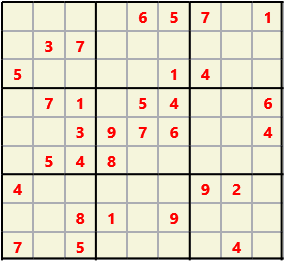 Sudoku 9X9 L(1,2) D(31,13,1,0,0,0) Gentle This is the standard geometry that is usually seen. Characters must not repeat in rows or columns or in any of the 3 by 3 boxes that are outlined.