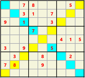 Sudoku 9X9X L(1,3) D(22,17,2,2,0,0) Moderate As regular 9 by 9 but must also have unique characters in each diagonal, highlighted.