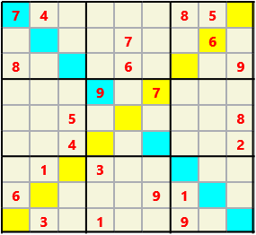 Sudoku 9X9X L(1,3) D(23,11,2,1,0,0) Moderate As regular 9 by 9 but must also have unique characters in each diagonal, highlighted.
