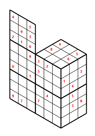 Tred 02 L(2,1) D(27,6,0,0,0,0) Moderate Tredoku 3 dimensional problem 02 with 8 faces, 6 rows and 9 columns