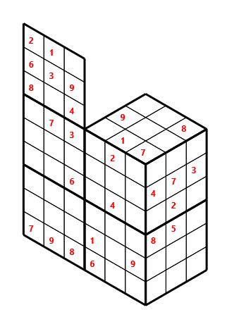 Tred 02 L(2,1) D(28,6,0,0,0,0) Moderate Tredoku 3 dimensional problem 02 with 8 faces, 6 rows and 9 columns