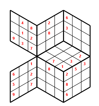 Tred 03 L(2,1) D(27,8,0,0,0,0) Moderate Tredoku 3 dimensional problem 03 with 7 faces, 6 rows and 6 columns