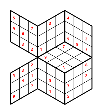 Tred 03 L(2,1) D(29,5,0,0,0,0) Moderate Tredoku 3 dimensional problem 03 with 7 faces, 6 rows and 6 columns
