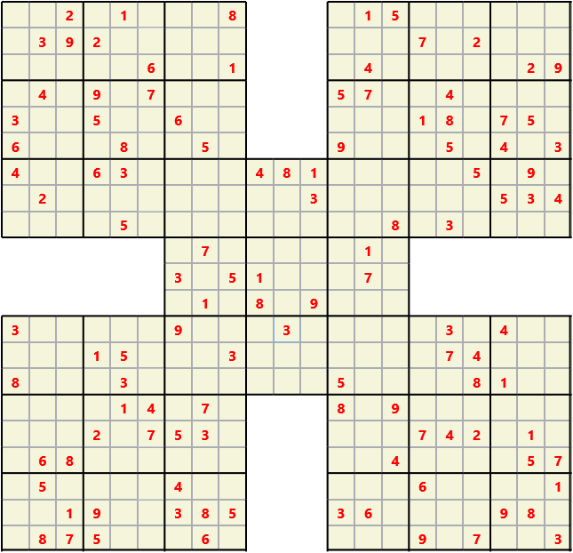 Samurai L(2,1) D(113,13,0,0,0,0) Moderate Effectively 5 intersecting 9 by 9 Sudoku problems which must all be solved at the same time. Usually not particularly difficult problems but time consuming