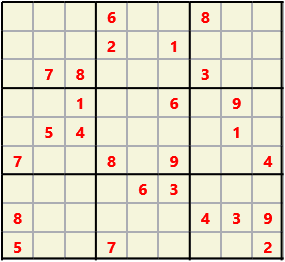 Sudoku 9X9 L(1,1) D(26,8,0,0,0,0) Easy This is the standard geometry that is usually seen. Characters must not repeat in rows or columns or in any of the 3 by 3 boxes that are outlined.