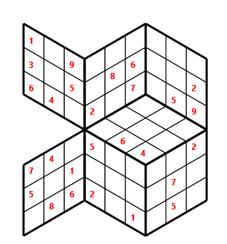 Tred 03 L(2,1) D(27,5,0,0,0,0) Moderate Tredoku 3 dimensional problem 03 with 7 faces, 6 rows and 6 columns