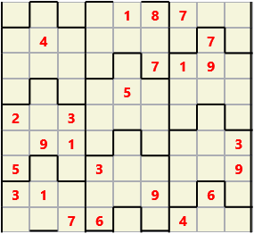Film L(2,3) D(24,18,3,2,0,0) Difficult Similar to the regular 9 by 9 Sudoku but the squares have lumps in the top and bottom. The problem wraps top to bottom but not side to side so the overall geometry is a cylinder.