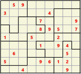 Jigsaw L(2,1) D(25,5,0,0,0,0) Moderate As regular 9 by 9 but the normal 3X3 boxes are irregular shapes