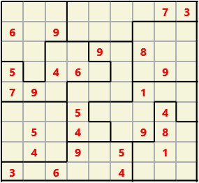 Jigsaw L(2,1) D(26,6,0,0,0,0) Moderate As regular 9 by 9 but the normal 3X3 boxes are irregular shapes