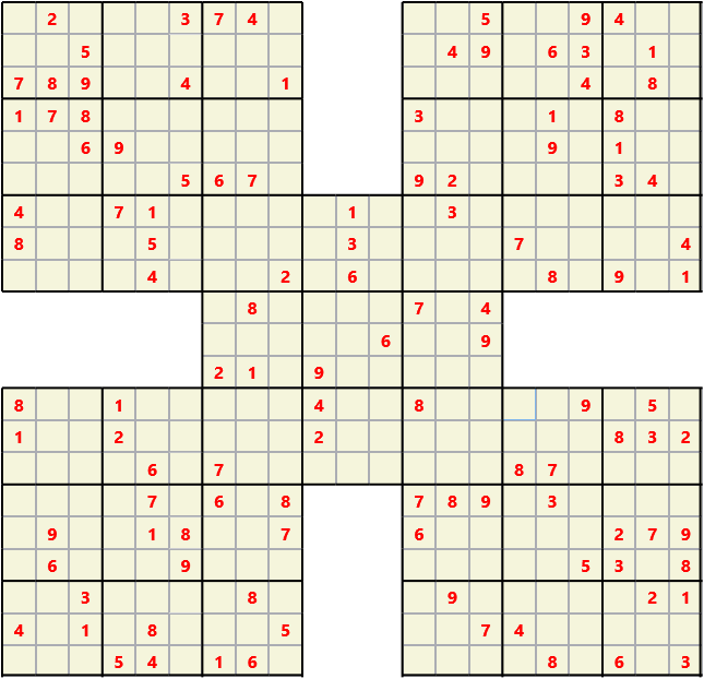 Samurai L(2,1) D(115,12,0,0,0,0) Moderate Effectively 5 intersecting 9 by 9 Sudoku problems which must all be solved at the same time. Usually not particularly difficult problems but time consuming