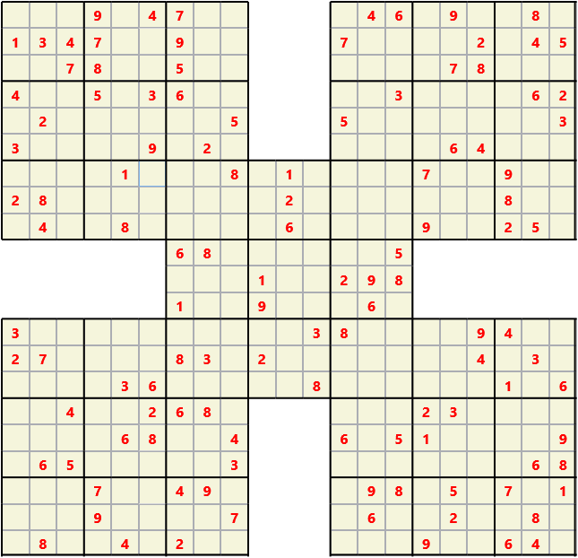 Samurai L(2,1) D(116,14,0,0,0,0) Moderate Effectively 5 intersecting 9 by 9 Sudoku problems which must all be solved at the same time. Usually not particularly difficult problems but time consuming