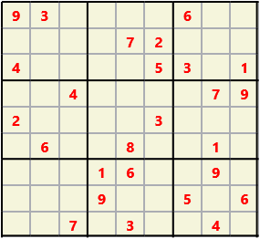 Sudoku 9X9 L(1,1) D(26,5,0,0,0,0) Easy This is the standard geometry that is usually seen. Characters must not repeat in rows or columns or in any of the 3 by 3 boxes that are outlined.