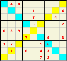 Sudoku 9X9X L(1,4) D(24,12,2,1,1,0) Difficult As regular 9 by 9 but must also have unique characters in each diagonal, highlighted.