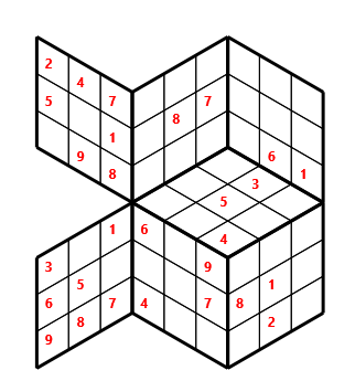 Tred 03 L(2,1) D(28,4,0,0,0,0) Moderate Tredoku 3 dimensional problem 03 with 7 faces, 6 rows and 6 columns