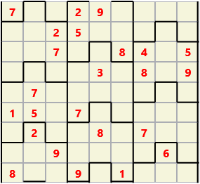 Film L(2,4) D(24,9,1,1,1,0) V Difficult Similar to the regular 9 by 9 Sudoku but the squares have lumps in the top and bottom. The problem wraps top to bottom but not side to side so the overall geometry is a cylinder.