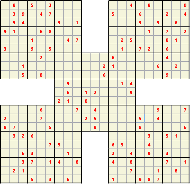 Samurai L(2,1) D(120,12,0,0,0,0) Moderate Effectively 5 intersecting 9 by 9 Sudoku problems which must all be solved at the same time. Usually not particularly difficult problems but time consuming