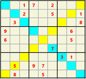 Sudoku 9X9X L(1,4) D(20,19,2,2,1,0) Difficult As regular 9 by 9 but must also have unique characters in each diagonal, highlighted.