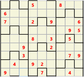 Film L(2,4) D(23,14,1,1,1,0) V Difficult Similar to the regular 9 by 9 Sudoku but the squares have lumps in the top and bottom. The problem wraps top to bottom but not side to side so the overall geometry is a cylinder.