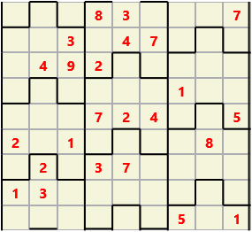 Film L(2,4) D(24,14,3,3,1,0) V Difficult Similar to the regular 9 by 9 Sudoku but the squares have lumps in the top and bottom. The problem wraps top to bottom but not side to side so the overall geometry is a cylinder.