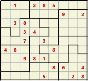 Jigsaw L(2,4) D(24,18,1,1,1,0) V Difficult As regular 9 by 9 but the normal 3X3 boxes are irregular shapes