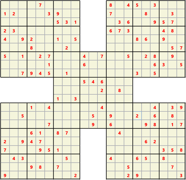 Samurai L(2,1) D(122,10,0,0,0,0) Moderate Effectively 5 intersecting 9 by 9 Sudoku problems which must all be solved at the same time. Usually not particularly difficult problems but time consuming