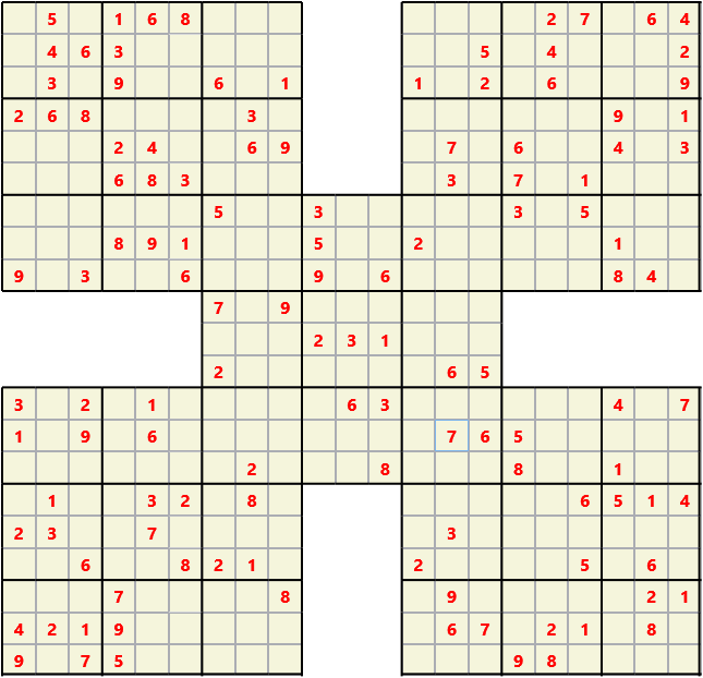 Samurai L(2,1) D(122,12,0,0,0,0) Moderate Effectively 5 intersecting 9 by 9 Sudoku problems which must all be solved at the same time. Usually not particularly difficult problems but time consuming