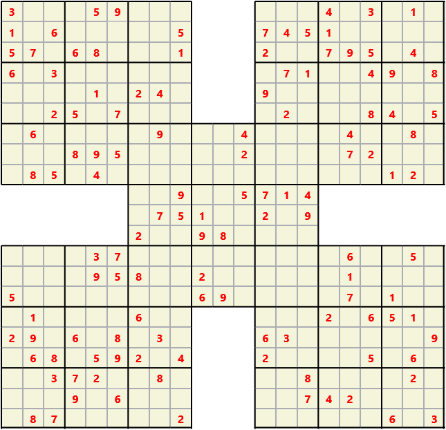 Samurai L(2,1) D(123,11,0,0,0,0) Moderate Effectively 5 intersecting 9 by 9 Sudoku problems which must all be solved at the same time. Usually not particularly difficult problems but time consuming
