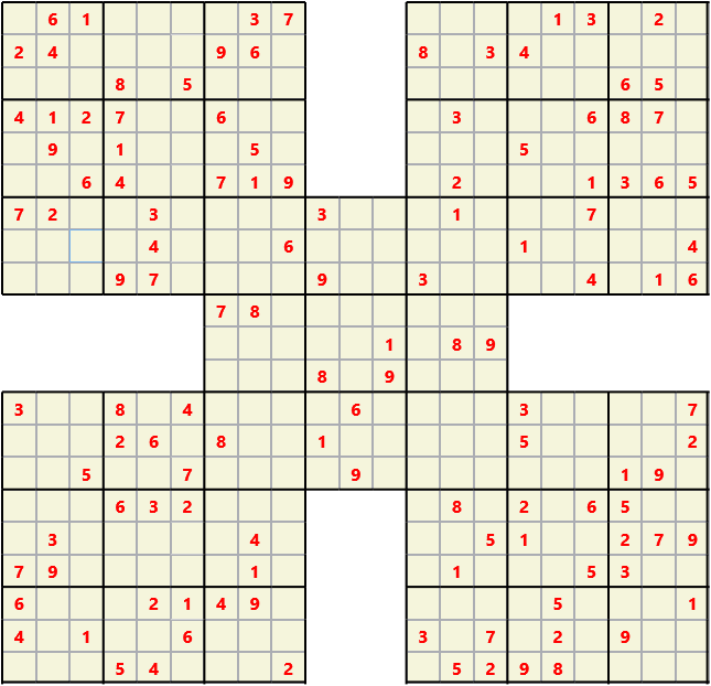 Samurai L(2,1) D(123,15,0,0,0,0) Moderate Effectively 5 intersecting 9 by 9 Sudoku problems which must all be solved at the same time. Usually not particularly difficult problems but time consuming