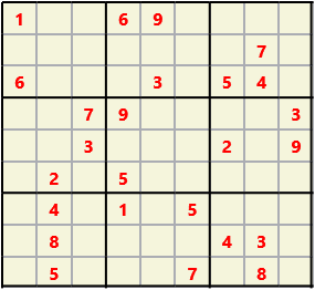 Sudoku 9X9 L(1,1) D(25,6,0,0,0,0) Easy This is the standard geometry that is usually seen. Characters must not repeat in rows or columns or in any of the 3 by 3 boxes that are outlined.