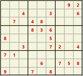Sudoku 9X9 L(1,1) D(26,13,0,0,0,0) Easy This is the standard geometry that is usually seen. Characters must not repeat in rows or columns or in any of the 3 by 3 boxes that are outlined.