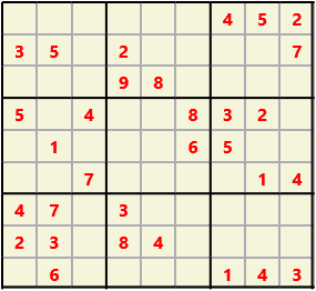 Sudoku 9X9 L(1,1) D(31,6,0,0,0,0) Easy This is the standard geometry that is usually seen. Characters must not repeat in rows or columns or in any of the 3 by 3 boxes that are outlined.