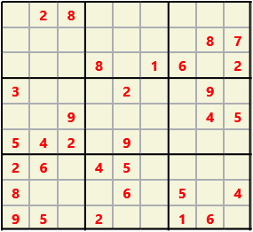 Sudoku 9X9 L(1,1) D(31,7,0,0,0,0) Easy This is the standard geometry that is usually seen. Characters must not repeat in rows or columns or in any of the 3 by 3 boxes that are outlined.