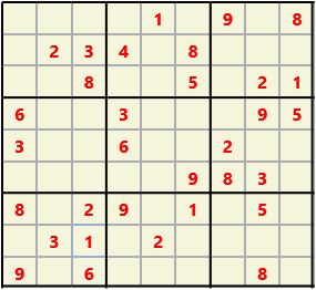 Sudoku 9X9 L(1,1) D(32,5,0,0,0,0) Easy This is the standard geometry that is usually seen. Characters must not repeat in rows or columns or in any of the 3 by 3 boxes that are outlined.