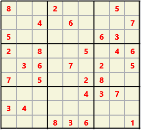 Sudoku 9X9 L(1,1) D(32,6,0,0,0,0) Easy This is the standard geometry that is usually seen. Characters must not repeat in rows or columns or in any of the 3 by 3 boxes that are outlined.