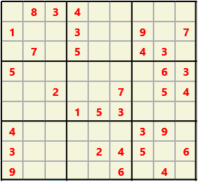 Sudoku 9X9 L(1,1) D(32,8,0,0,0,0) Easy This is the standard geometry that is usually seen. Characters must not repeat in rows or columns or in any of the 3 by 3 boxes that are outlined.