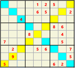 Sudoku 9X9X L(1,1) D(22,11,0,0,0,0) Easy As regular 9 by 9 but must also have unique characters in each diagonal, highlighted.