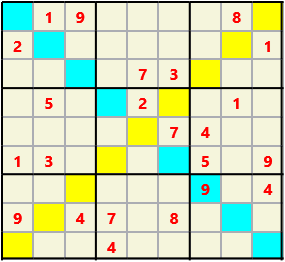 Sudoku 9X9X L(1,4) D(23,13,2,2,1,0) Difficult As regular 9 by 9 but must also have unique characters in each diagonal, highlighted.