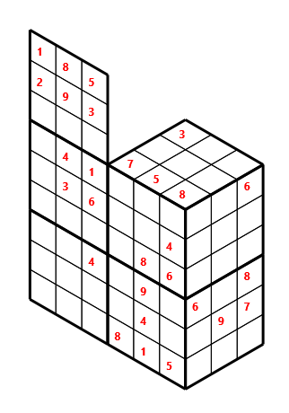 Tred 02 L(2,1) D(28,10,0,0,0,0) Moderate Tredoku 3 dimensional problem 02 with 8 faces, 6 rows and 9 columns