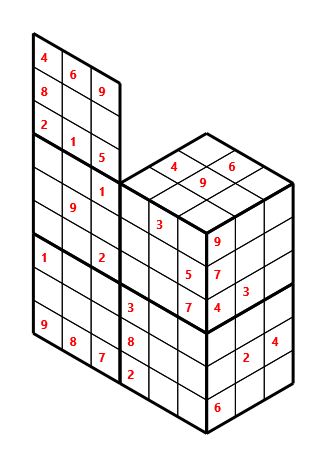 Tred 02 L(2,1) D(30,5,0,0,0,0) Moderate Tredoku 3 dimensional problem 02 with 8 faces, 6 rows and 9 columns