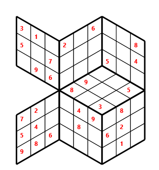 Tred 03 L(2,1) D(29,6,0,0,0,0) Moderate Tredoku 3 dimensional problem 03 with 7 faces, 6 rows and 6 columns