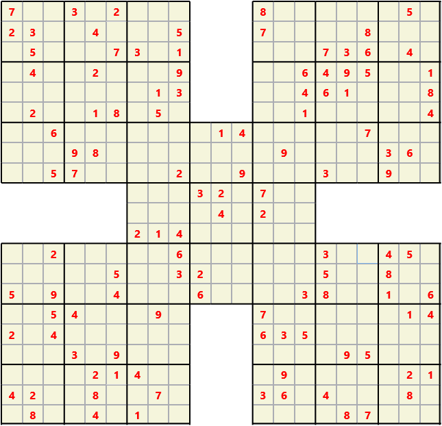 Samurai L(2,1) D(114,12,0,0,0,0) Moderate Effectively 5 intersecting 9 by 9 Sudoku problems which must all be solved at the same time. Usually not particularly difficult problems but time consuming