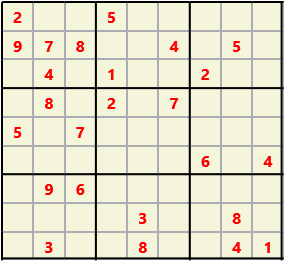 Sudoku 9X9 L(1,1) D(25,11,0,0,0,0) Easy This is the standard geometry that is usually seen. Characters must not repeat in rows or columns or in any of the 3 by 3 boxes that are outlined.