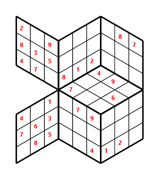 Tred 03 L(2,1) D(28,6,0,0,0,0) Moderate Tredoku 3 dimensional problem 03 with 7 faces, 6 rows and 6 columns
