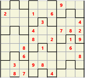 Film L(2,1) D(25,7,0,0,0,0) Moderate Similar to the regular 9 by 9 Sudoku but the squares have lumps in the top and bottom. The problem wraps top to bottom but not side to side so the overall geometry is a cylinder.