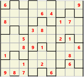 Film L(2,3) D(25,13,2,2,0,0) Difficult Similar to the regular 9 by 9 Sudoku but the squares have lumps in the top and bottom. The problem wraps top to bottom but not side to side so the overall geometry is a cylinder.