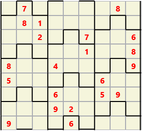 Film L(2,4) D(21,19,2,2,1,0) V Difficult Similar to the regular 9 by 9 Sudoku but the squares have lumps in the top and bottom. The problem wraps top to bottom but not side to side so the overall geometry is a cylinder.